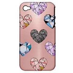 Gem Hearts And Rose Gold Apple Iphone 4/4s Hardshell Case (pc+silicone)