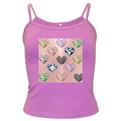 Gem Hearts And Rose Gold Dark Spaghetti Tank