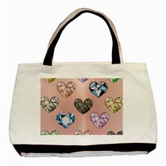 Gem Hearts And Rose Gold Basic Tote Bag (two Sides)