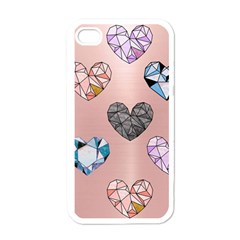 Gem Hearts And Rose Gold Apple Iphone 4 Case (white)