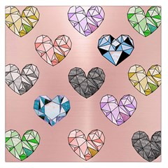 Gem Hearts And Rose Gold Large Satin Scarf (square)