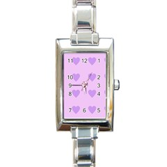 Violet Heart Rectangle Italian Charm Watch