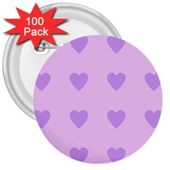 Violet Heart 3  Buttons (100 Pack)
