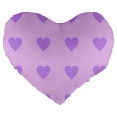 Violet Heart Large 19  Premium Flano Heart Shape Cushions