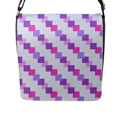 Geometric Squares Flap Messenger Bag (l)  by snowwhitegirl