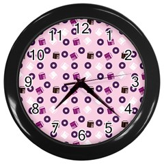 Pink Donuts Wall Clock (black)