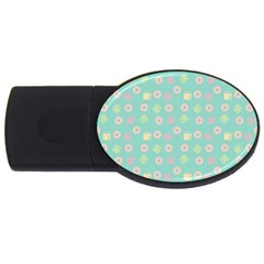 Teal Donuts And Milk Usb Flash Drive Oval (4 Gb)
