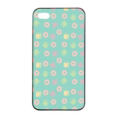 Teal Donuts And Milk Apple Iphone 4/4s Seamless Case (black)