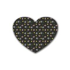 Dark Grey Milk Hearts Heart Coaster (4 Pack)