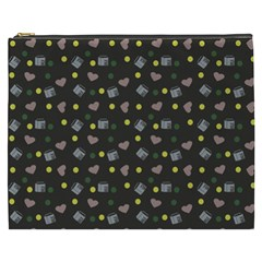 Dark Grey Milk Hearts Cosmetic Bag (xxxl)