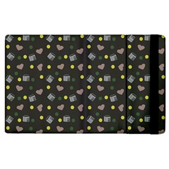 Dark Grey Milk Hearts Apple Ipad 2 Flip Case