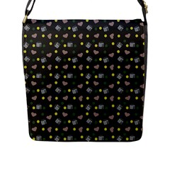 Dark Grey Milk Hearts Flap Messenger Bag (l)