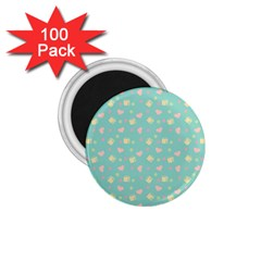 Teal Milk Hearts 1 75  Magnets (100 Pack)