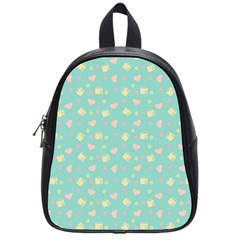 Teal Milk Hearts School Bag (small)