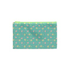 Teal Milk Hearts Cosmetic Bag (xs)