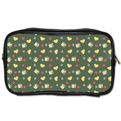 Green Milk Hearts Toiletries Bags 2 Side