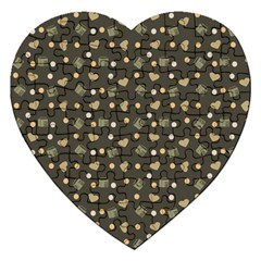 Charcoal Grey  Milk Hearts Jigsaw Puzzle (heart)