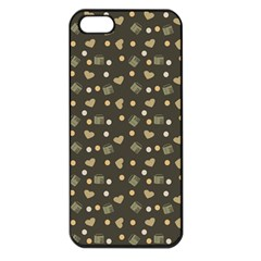 Charcoal Grey  Milk Hearts Apple Iphone 5 Seamless Case (black)