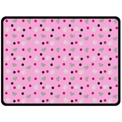 Pink Milk Hearts Double Sided Fleece Blanket (large)