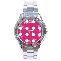 Pink Dot Stainless Steel Analogue Watch