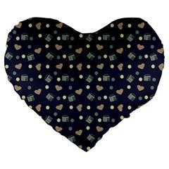 Blue Milk Hearts Large 19  Premium Heart Shape Cushions