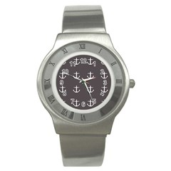Grey Anchors Stainless Steel Watch