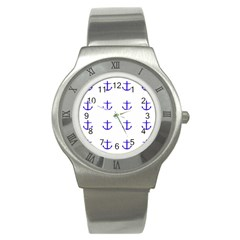 Royal Anchors On White Stainless Steel Watch