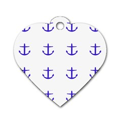 Royal Anchors On White Dog Tag Heart (one Side)