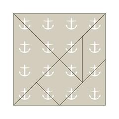 Lt Grey Anchors Acrylic Tangram Puzzle (6  X 6 )