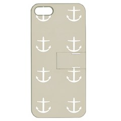 Lt Grey Anchors Apple Iphone 5 Hardshell Case With Stand