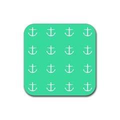 Seafoam Anchors Rubber Square Coaster (4 Pack)