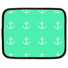Seafoam Anchors Netbook Case (large)