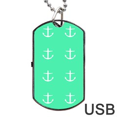 Seafoam Anchors Dog Tag Usb Flash (two Sides)