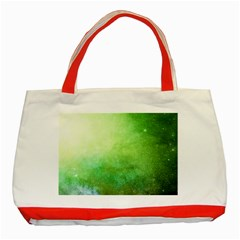 Galaxy Green Classic Tote Bag (red)