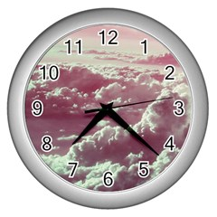 In The Clouds Pink Wall Clock (silver)