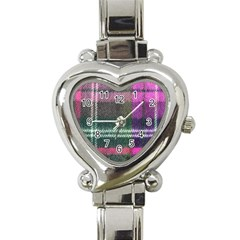 Pink Plaid Flannel Heart Italian Charm Watch
