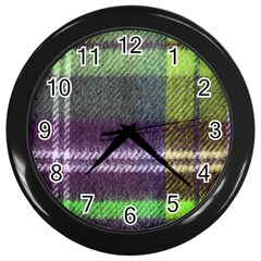 Neon Green Plaid Flannel Wall Clock (black)
