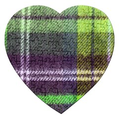 Neon Green Plaid Flannel Jigsaw Puzzle (heart)