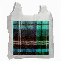 Blue Plaid Flannel Recycle Bag (two Side)