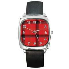 Red Plaid Square Metal Watch