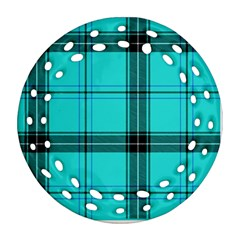 Aqua Plaid Round Filigree Ornament (two Sides)