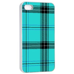 Aqua Plaid Apple Iphone 4/4s Seamless Case (white)