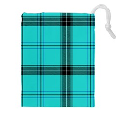 Aqua Plaid Drawstring Pouch (xxl)