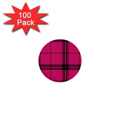Dark Pink Plaid 1  Mini Buttons (100 Pack)