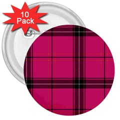 Dark Pink Plaid 3  Buttons (10 Pack)