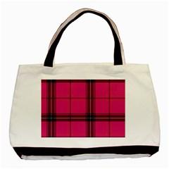 Dark Pink Plaid Basic Tote Bag