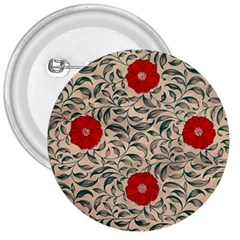 Papanese Floral Red 3  Buttons