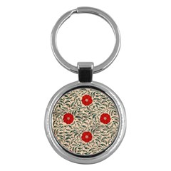 Papanese Floral Red Key Chains (round)  by snowwhitegirl