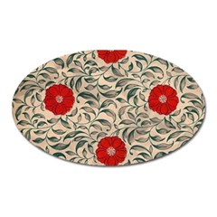 Papanese Floral Red Oval Magnet