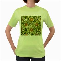 Japanese Floral Orange Women s Green T Shirt